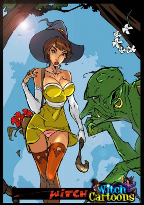 sexy cartoon witch has fun with a monster